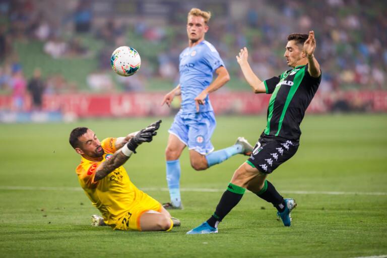 Joshua Cavallo als speler van Western United tijdens het duel met Melbourne City